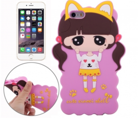 3D Style Cartoon Cute Xiaoxi Pattern Silicone Case for iPhone 6 & 6 Plus (Red, Green, Magenta)