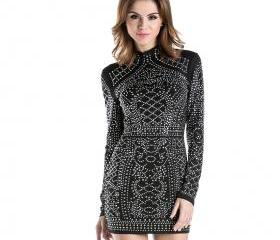 Geometric Studded Mini Dress (Black)