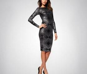 Black long sleeve sequin bandage dress
